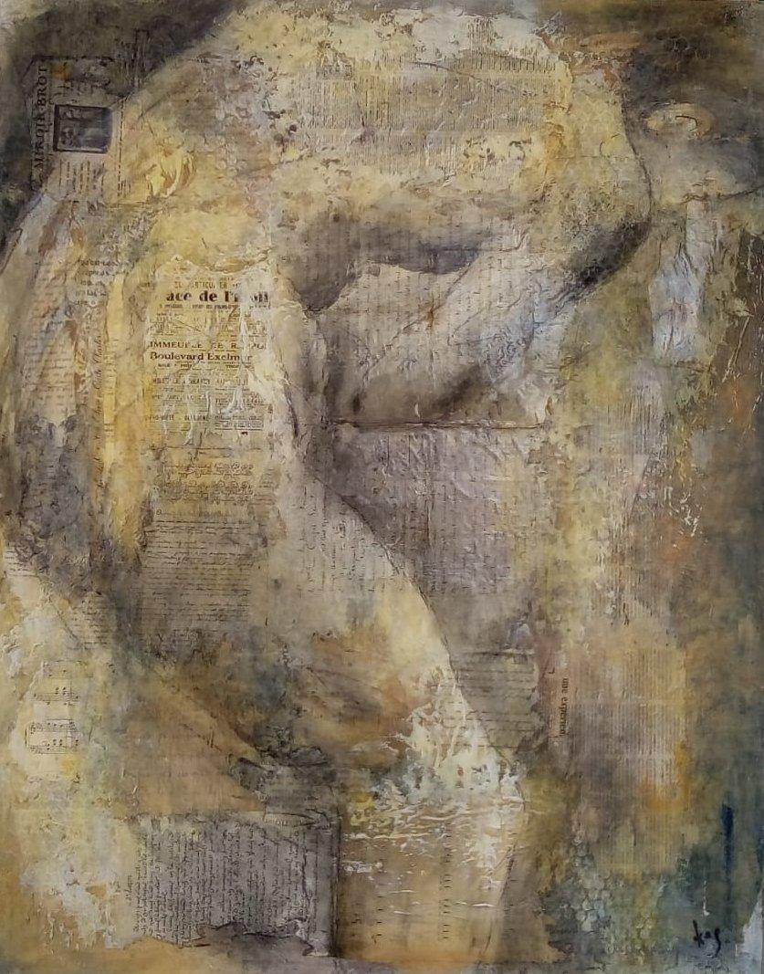 LA DOULEUR. Karole AUBOURG. Dim 92 x 73. Techniques mixtes sur bois.
