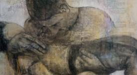 Karole Aubourg. L'ENFANT. Techniques mixtes sur bois. Dim 92 x 73. (1)