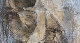 Karole Aubourg. TENDRESSE. Techniques mixtes sur bois. Dim 61 x 50.