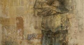 L'HOMME PRESSE. Karole AUBOURG. Techniques mixtes sur bois. Dim 92 x 73.