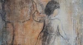 Pour grandir numero 7 Karole AUBOURG Techniques mixtes sur bois Dim 92 x73 cm