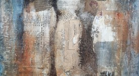 Conversation numero 2 Karole Aubourg Techniques mixtes sur bois Dim 61 x 50 cm