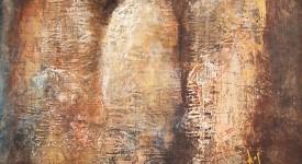 Conversation numero 3 Karole Aubourg Techniques mixtes sur bois Dim 61 x 50 cm