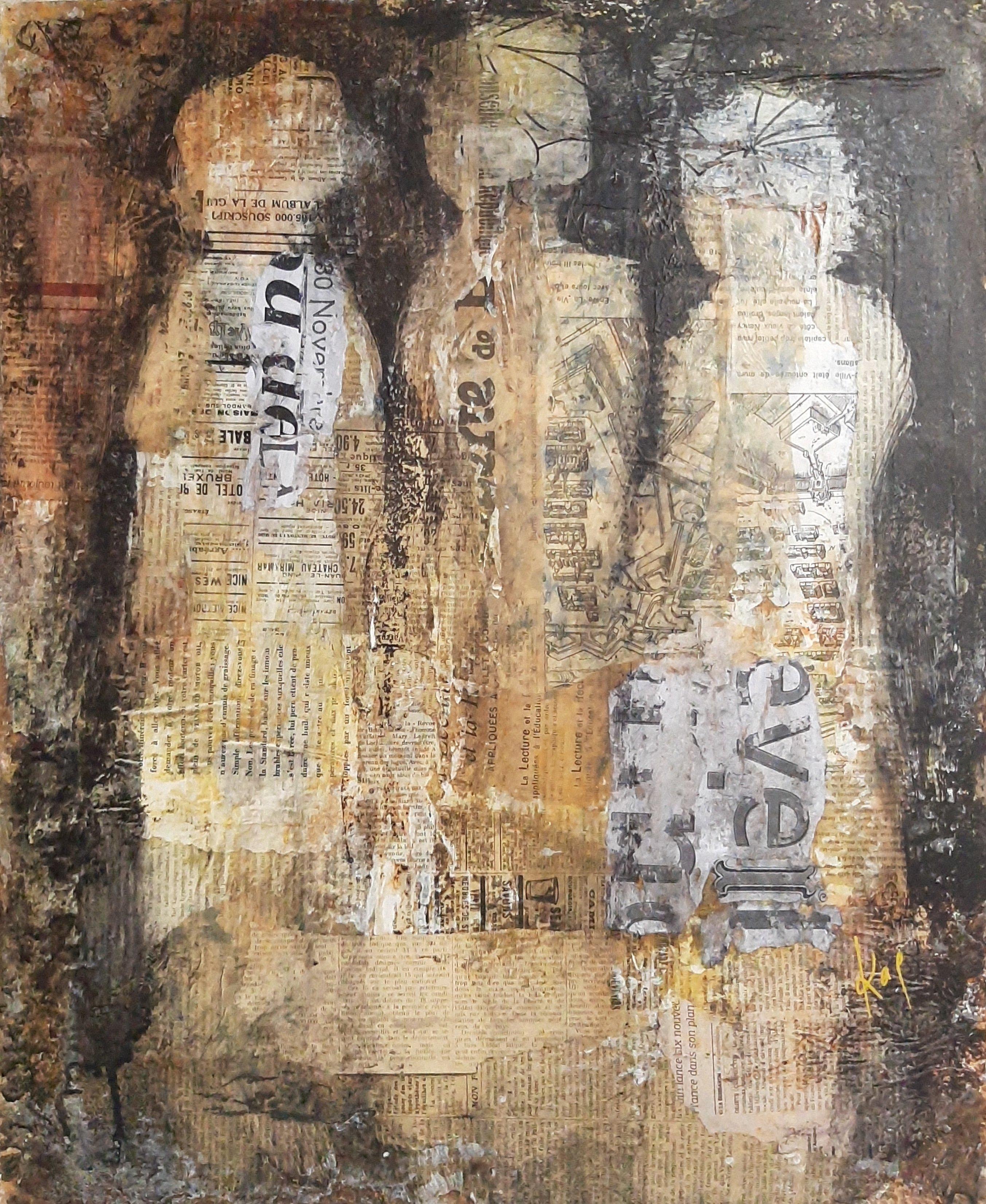 Conversation numero 4 Karole Aubourg Techniques mixtes sur bois Dim 61 x 50 cm