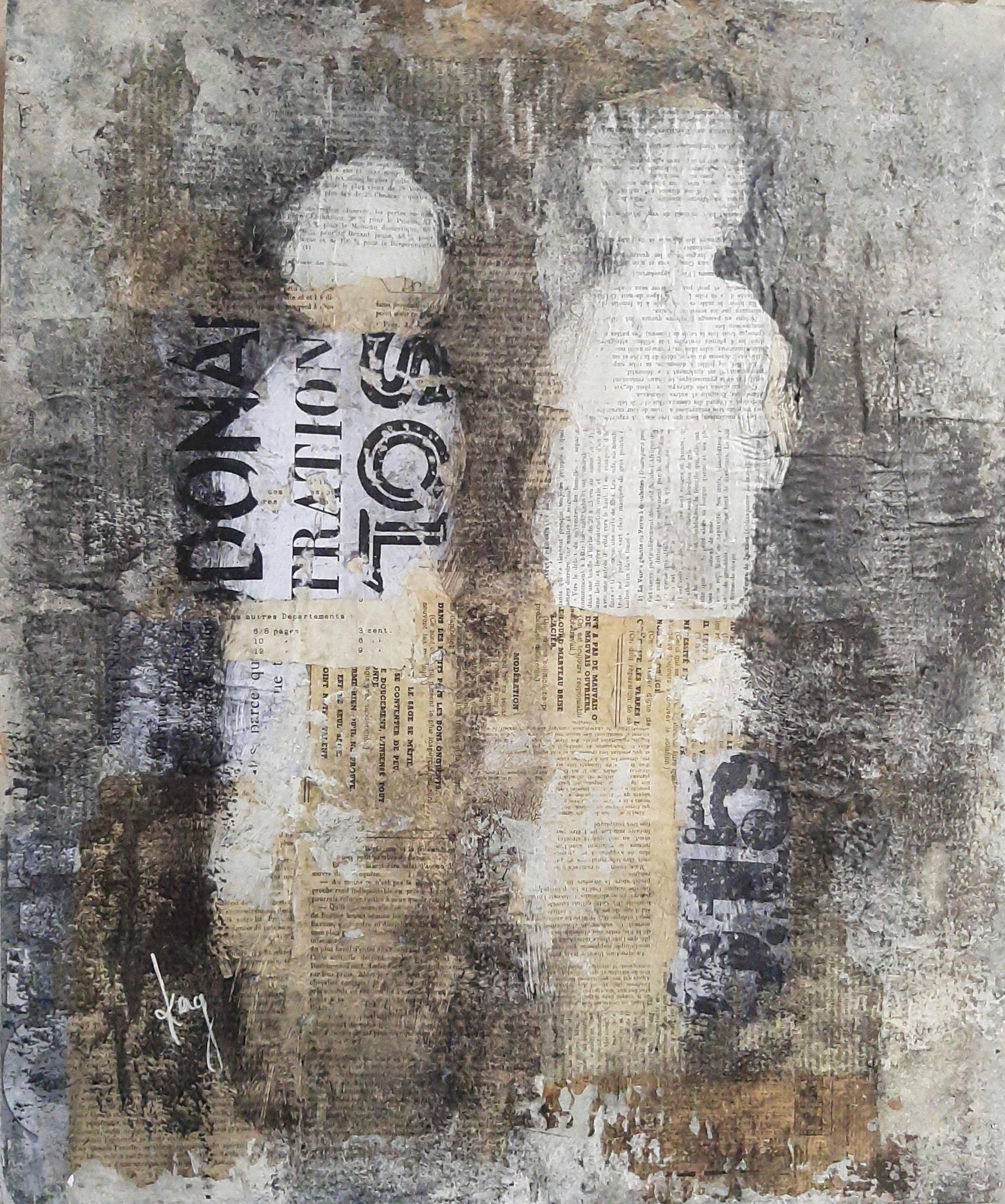 Conversation numero 5 Karole Aubourg Techniques mixtes sur bois Dim 61 x 50 cm